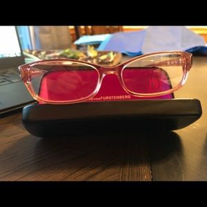 Diane VonFurstenberg eyeglasses frames pink rose